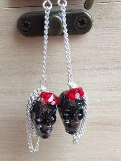 Swarovski Silver Night Crystal Skull & Red Butterly by MadeByMissM