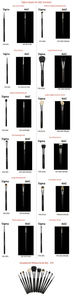 I have to say I own a lot of Mac brushes and now have quite a few Sigma brushes and I love them just the same! SIGMA BRUSHES :: Dupe List for Mac Brushes. I have a bunch of both, and it is true, they ARE great dupes. Mac Brushes, Sigma Brushes, Makeup Brushes, Mac Brush Dupes, Mac Make Up, Make Up Dupes, Beauty Dupes, Beauty Makeup, Beauty Hacks