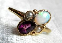 Opal Engagement Ring, Australian Blue Opal Seed Pearl Amethyst Ring, Antique Opal Ring 14K, October Birthday