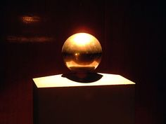 Photo of Tesla's Golden Sphere for fans of Nikola Tesla. Tesla's ashes were put into this golden sphere, Tesla's favorite physical shape. The sphere is located in the Telsa Museum in Belgrade.