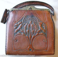 Antique-Art-Nouveau-Hand-Tooled-Floral-LG-Leather-Lined-Purse-JEMCO-MEEKER-1915
