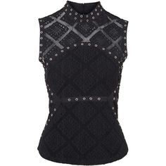 TOPSHOP Eyelet Lace Shell Top ($60) ❤ liked on Polyvore featuring tops, black, black tank, sleeveless shell top, black top, sleeveless tank tops and black tank top