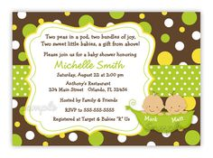 Two Sweet Peas in a pod Style 2 Baby Shower by CherishedTimes, $14.00