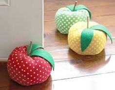 Door stopper shaped like a plush apple Polka-dot fabric with 3 color choices: green, red, and yellow Heavy weight lb.) stops almost all doors Size: dia. x 11 cm) View more apple items, doorstops Craft Projects, Sewing Projects, Projects To Try, Craft Ideas, Fabric Crafts, Sewing Crafts, Creation Couture, Pin Cushions, Pillows