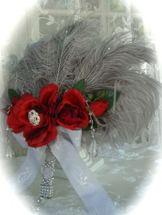 Ostrich and Peacock Feather FAN BOUQUET in Silver and by Ivyndell, $79.00