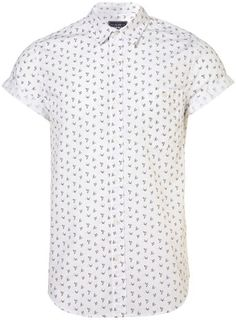 White Swallow Print Short Sleeve Shirt