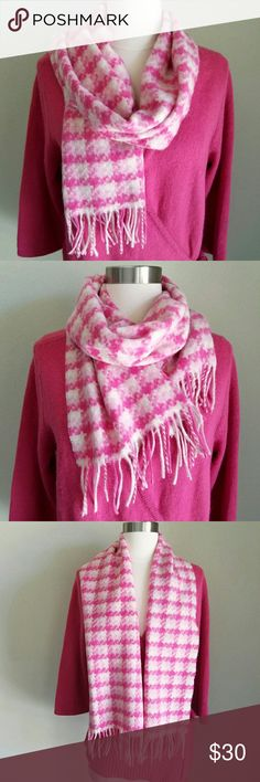 """Cashmere Valentin Fraas Pink Ombre Plaid Scarf 100% cashmere in dark pink, pastel pink, and white ombre gradient plaid. Unfinished edges. Fringe trim. Length- 51"""" (57.5"""" including fringe), Width- 11.5"""". EXCELLENT used condition  --- Shown in photo w/ Venezia Pink Rabbit Hair Wrap Sweater from my closet. BUNDLE AND SAVE! --- Fraas Accessories Scarves & Wraps"""