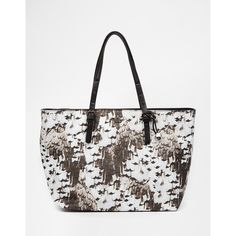 Fiorelli Laurent Feather Print East West Tote ($117) ❤ liked on Polyvore
