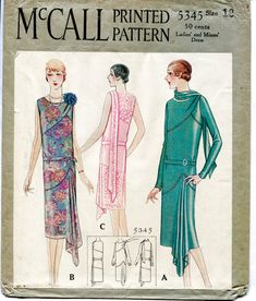 1920s 1930s McCall 5345 repro vintage sewing pattern flapper day or evening dress bias cut drop waist small medium bust 35 1/2 reproduction
