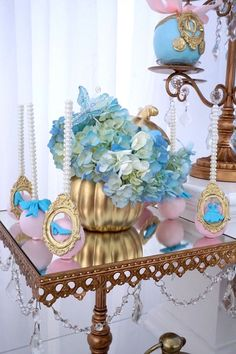 Flowers from Fairy Godmother Cinderella Birthday at Kara's Party Ideas. See more at karaspartyideas.com!