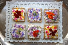 Rooted In Thyme: ~  Edible Flower Tea Sandwiches: whole wheat bread and low fat cream cheese + edible flowers