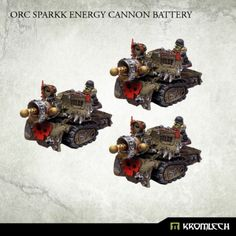 This set contains three Orc Sparkk Energy Cannons. This set is 10% cheaper than separate models x3  These models are made to be compatible with 28mm heroic scale miniatures.