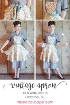 Retro Apron Patterns, Apron Pattern Free, Vintage Apron Pattern, Vintage Dress Patterns, Aprons Vintage, Sewing Patterns Free, Free Sewing, Sewing Aprons, Sewing Clothes