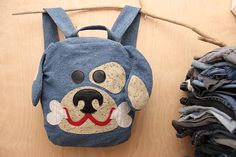 Blue jeans dog backpack Puppy backpack recycled denim