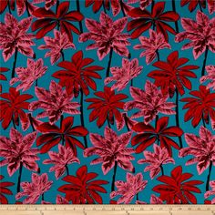This soft and lightweight rayon fabric has a beautiful fluid drape and soft hand. It is perfect for creating shirts, blouses, gathered skirts and flowing dresses with a lining. Colors include red, pink, black and turquoise. Tropical Prints, Pink And Green, Pink Black, Create Shirts, Flowing Dresses, Fabulous Fabrics, Green Fabric, Fabric Design, Sewing Patterns