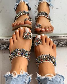 Studded Detail Toe Ring Flat Sandals Sandals for women for women for women for women Cute Sandals, Open Toe Sandals, Flat Sandals, Cute Shoes, Shoes Sandals, Flats, Vegan Sandals, Leather Sandals, Vintage Gold Engagement Rings