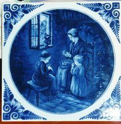Large Vintage Antique Blue and White Delftware Tile on Ebay $62.48