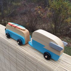 Custom handcrafted vintage style VW Bus with Shasta Airflight Trailer wood toy. Now more popular than ever, these vintage style wooden toys are