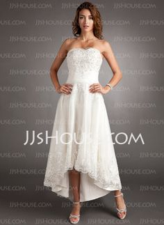 A-Line/Princess Sweetheart Asymmetrical Organza Wedding Dress With Lace Beadwork (002011546)