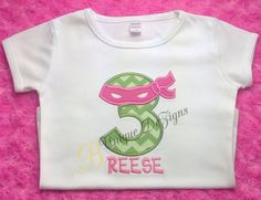 Girls Pink Ninja Turtle Inspired Applique Shirt, Girls Birthday T-Shirt or Bodysuit Personalized by BUniqueDeZigns on Etsy https://www.etsy.com/listing/205094235/girls-pink-ninja-turtle-inspired
