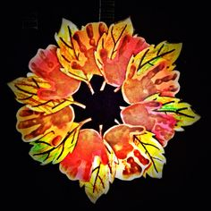 A Fall wreath. Simply have your child make hand prints on colored paper, color leaf shapes and cut them out. Cut a hole in a paper plate then glue hand prints and leaves as shown. Attach a string and you have your wreath!