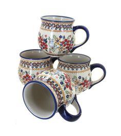 Red Daisy 4 PIece Bubble Mug Set - Blue Rose Polish Pottery