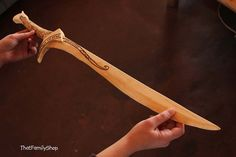 Wooden Elvish sword inspired by the Lord of the Rings movies