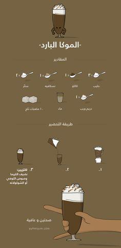 وصفة عمل الـموكا البارد تحتاج الى: حليب، نسكافيه، كاكاو، ماء، سكّر، و دريم ويب - كريما
