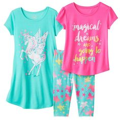 Girls 3 Piece Graphic Aqua Pegasus Summer Pajama Set and Nightgown Size L 12 Cute Pjs, Cute Pajamas, Toddler Girl Outfits, Kids Outfits, Cute Outfits, Justice Clothing, Kids Clothing, Baby Girl Pajamas, Cute Sleepwear