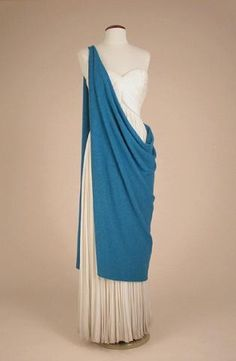 Gres Ivory Draped Dress with Turquoise Wool Chlamys. Couture and Accessories | Doyle Auction House