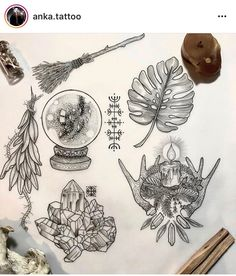 Gonna have this year's last flash day on Sunday the I've been really enjoying having these small piece flash days, they are super fun… Neue Tattoos, Body Art Tattoos, Tattoo Drawings, Sleeve Tattoos, Crystal Ball Tattoo, Witchcraft Tattoos, Tatuajes Tattoos, Tatoos, Illustrations Vintage