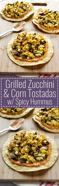 Grilled Zucchini & Corn Tostadas with Spicy Hummus