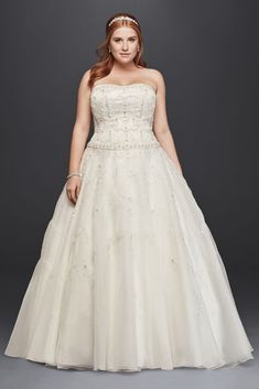Oleg Cassini Organza Plus Size Wedding Dress - Ivory, 22W