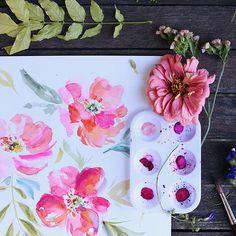 Having a bit of a break, spending some summer days painting. #peony #peonies #pinkflowers #watercolor #paint #art #flowers