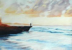Fishing At Sunrise | by Tom Smith #TomSmith #Pastel #CedarStreetGalleries