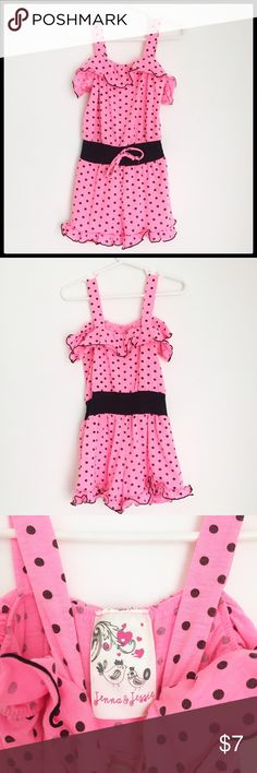 Pink & Black Polka Dot Jenna and Jessie Romper Bright Pink Jenna and Jessiel Romper, super cute and ready for summer!☀️ Ruffles around the top and on bottom of shorts! 62% polyester 33% rayon and 5% spandex Jenna & Jessie One Pieces