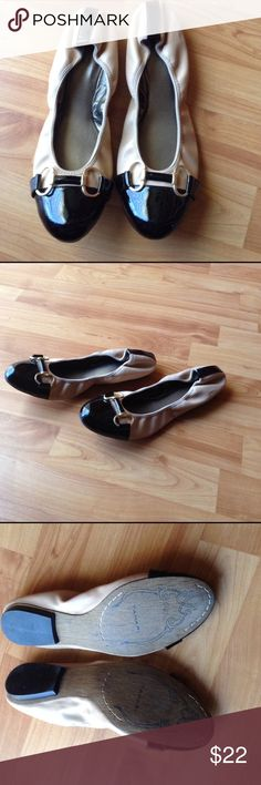 Designer Flat Shoes Worn Only 1x; Two Tone Black and Tan Flats with Black Patent Cap Toe and Heel; Gold Ring and Bar Ha dwarf Across the Toe Tahari Shoes Flats & Loafers