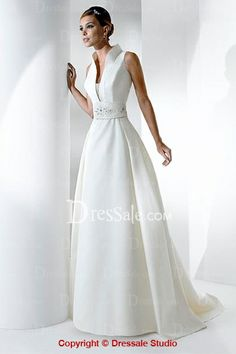 This is the closest (affordable)  version of a Franc Sarabia 2010 Wedding Gown I pinned previously. I called it Star Trek meets Wedding Dress. Transcendent White Sleeveless A-line Satin Dress with High Collar