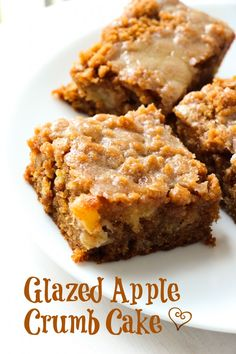 Glazed Apple Crumb Cake ~ Moist, buttery cinnamon apple crumb cake piled high with a sweet cinnamon crumb topping and a warm vanilla glaze drizzled over top. Apple Cake Recipes, Apple Desserts, Fall Desserts, Just Desserts, Baking Recipes, Delicious Desserts, Dessert Recipes, Yummy Food, Dessert Ideas
