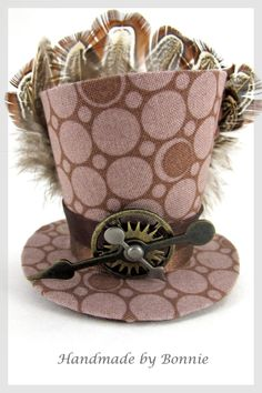 Tiny Top Hat Brown Dots Feathers Steampunk by BonnieMadeDesigns, $38.00