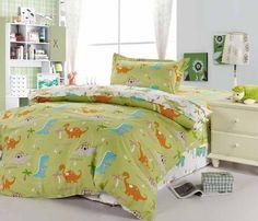 Dinosaur Paradise Green Dinosaur Bedding Set Dinosaur Bedding, Green Pattern, Cartoon Styles, Duvet Cover Sets, Bedding Sets, Comforters, Paradise, Blanket, The Originals