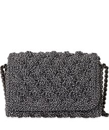 """New Cheap Bags. The location where building and construction meets style, beaded crochet is the act of using beads to decorate crocheted products. """"Crochet"""" is derived fro Bead Crochet, Crochet Bags, Popcorn Stitch, Handmade Bags, Bucket Bag, Women's Bags, Black And White, Lady, How To Make"""
