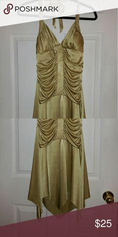La Belle Halter Gold Dress Soft flowy material w/pointy  Hem line and bra cups La Belle Dresses Mini