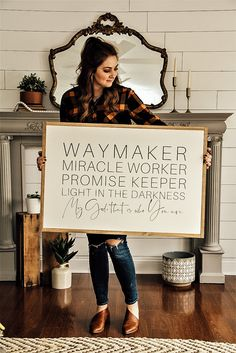 Waymaker, Miracle Worker, Promise Keeper, Light in the Darkness. My God, that is who you are. Funky Junk Interiors, Diy Wood Signs, Wall Signs, Rustic Wood Signs, Farmhouse Signs, Farmhouse Decor, Home Decor Signs, Diy Home Decor, Sweet Home