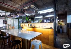 The Space Encounters office showcases consistent branding, a refined take on mid-century design through finishes and furniture, and thoughtful details. Cool Office, Office Designs, Mid Century Design, Manila, Offices, My Design, Cool Stuff, Space, Table