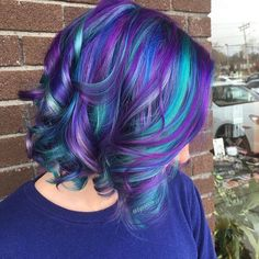 Purple and teal hair, found on FB, not my photo.