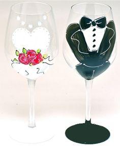 Bride & Groom Handpainted Toasting Glasses