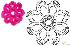 """Best 12 """"This sweet small flower applique, has just 3 rows, its so easy to make, it is great for the beginner crochet to practice with, create as many as needed to enhance your skills and then use them to decorate your next project. Crochet Motifs, Crochet Flower Patterns, Crochet Diagram, Crochet Patterns For Beginners, Crochet Chart, Crochet Doilies, Crochet Flowers, Crochet Hooks, Knitting Patterns"""