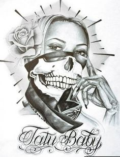 Chicana with bandana tattoo design