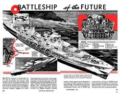 """I stumbled across """"The Battleship of the Future"""" in a Popular Mechanics issue from 1940. [2698x2111][xpost /r/ImaginaryWarships]"""